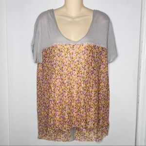 Free People | Sheer Floral Button Back Tshirt